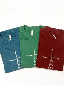 I Have Faith Graphic Tee V Neck in Multiple Colors - Sizes 4-20