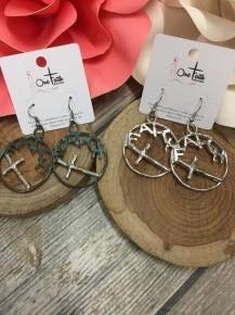Faith Circle Hoop Earrings with Cross in Multiple Colors