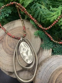 One Word Beaded Mini Point Of Perfection With Pendant In Bronze/Red