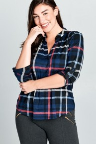 Plaid V-Neck Top With Roll Tab Sleeves - Multiple Colors - Sizes 12-20