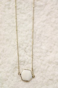 Just Be Mine White Hexagon Necklace