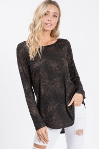 This Way Mineral Wash Criss Cross Back Top In Black- Sizes 4-10