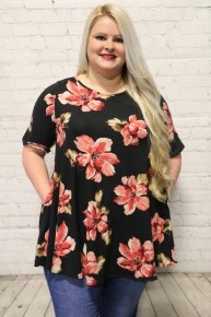Take Me There Floral Top in Black - Sizes 12-20
