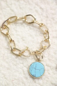 Happiness Gold Link Toggle Bracelet With Turquoise Pendant