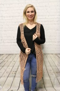 Take A Walk Crochet Vest With Back Detail In Peach - Sizes 4-12