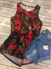 Grace Is A Kingdom Floral Print Dressy Tank In Black - Sizes 4-10