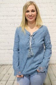 Rise Above & Move Long Sleeve Crochet Lace Top In Steel Blue - Sizes 4-10