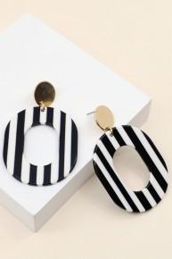 Living Is My Favorite Striped Acetate Hoop Earrings- Multiple Colors