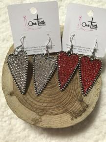 Beautiful Love Jeweled Heart Earring  in Multiple Colors