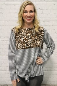 Tripping On You Striped & Leopard Long Sleeve Top With Tie Front  In Gray- Sizes 4-10