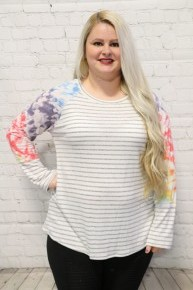 New Girl In Town Stripe Top With Tie Dye Sleeves Size 12-20