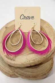 Find Faith Gold Double Tear Drop Earring with Pink Feathered Edge