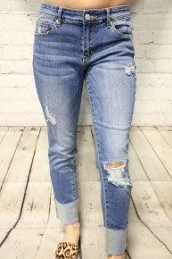The Brinnsleigh Cuffed Slim Boyfriend Jean In Medium Denim - Sizes 0-15