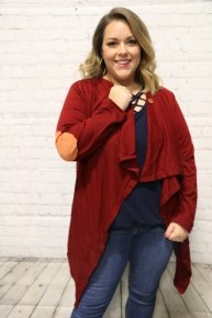 Where Are You Going Draped Cardigan With Elbow Patch In Wine - Sizes 4-18