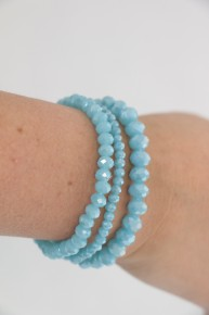 Charm It Up Three Strand Beaded Bracelet In Cornflower