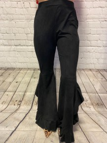 Out On The Town Suede Ruffle Pants - Sizes 4-10