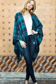 Let's Wear Plaid Today Ruana With Fringe - Multiple Colors - One Size