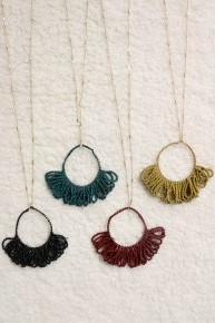 Hanging Around Necklace With Beaded Fringe Hoops In Multiple Colors