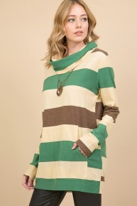 There You Have It Multicolor Top With French Cowl Neck - Sizes 12-20