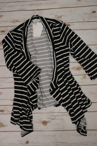 Bring It To Him Striped 3/4 Sleeve Draped Cardigan In Black - Sizes 12-20
