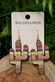 Just Give Me A Reason Serape Cactus Earrings