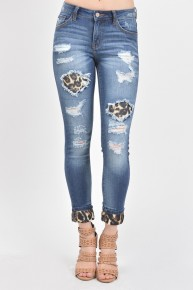 The Haven Super Distressed Jeans With Leopard Accents - Sizes 12-20