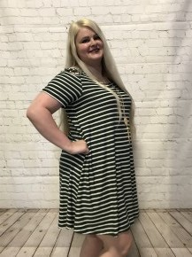 Style Perfection Striped Dress with Caged Shoulder in Hunter Green - Sizes 12-20