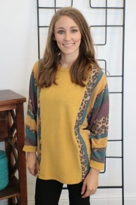 Running Circles Or Stripes Color Block Top In Mustard - Sizes 4-12