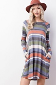 The Catan Striped Long Sleeve Dress With Elbow Patches In Multicolor - Sizes 4-10