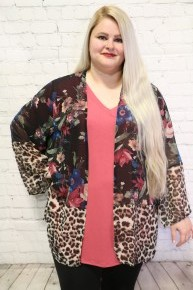 Better Than Most Floral & Leopard Kimono In Black- Sizes 12-20