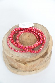 Charm It Up Three Strand Beaded Bracelet In Raspberry