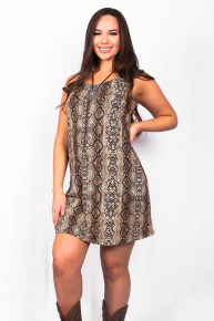 In Love with You Snakeskin Sleeveless Dress - Sizes 6-20