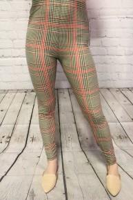 Red & Black Houndstooth Leggings - Sizes 4-20