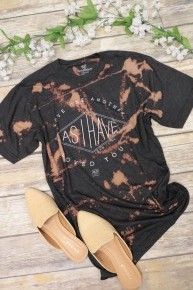 Love One Another As I Have Loved You Bleach Splatter Tee In Charcoal- Sizes 6-20