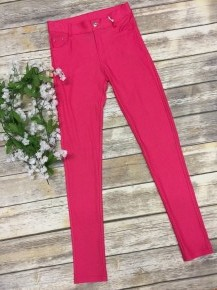 The Zoey Thin Comfy Full Length Jeggings In Fuchsia - Size S