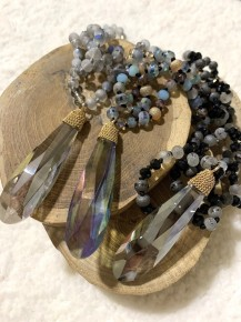 Flawless Mini Point Of Perfection Beaded Necklace With Crystal Pendant - Multiple Colors