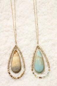 On The Go Long Double Teardrop Necklace With Stone And Beads In Multiple Colors