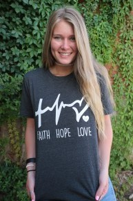Faith, Hope, Love Graphic Tee in Charcoal ~ Sizes 6-20