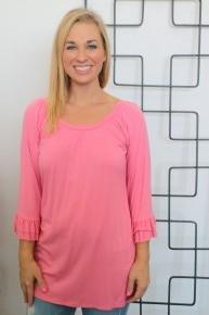 Pink Scoop Neck Ruffle Sleeve Top - Sizes 4-12
