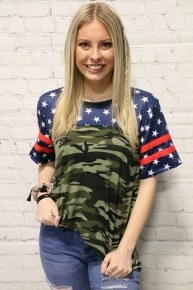 God Bless America Short Sleeve Top In Camo With Stars Sizes 4-20