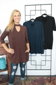 Have It Your Way 3/4 Sleeve Top With Keyhole Neck - Multiple Colors- Sizes 4-12