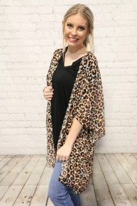 On The Prowl Stretchy Leopard Kimono ~ One Size Fits Most