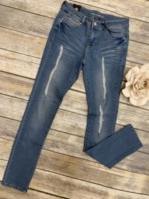 Taking A Walk Medium Wash Distressed Denim Jean ~ Sizes 5-15