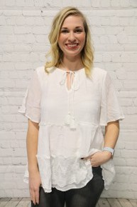 Simply Perfect Short Sleeve Lace Accented Ruffle Top In White - Sizes 4-10