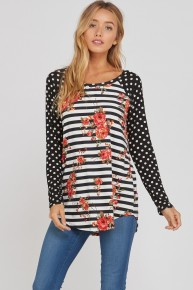 Hey Now Floral Stripes & Polka Dot Contrast Sleeve - Sizes 12-20