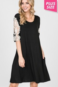 Full Heart Black Dress with Lace Detailed Sleeve Sizes 12-20