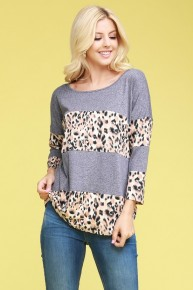 Might Be Quarter Sleeve Colorblock Leopard Top Sizes 12-20