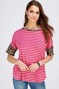 We Used To Sing Striped Top With Leopard Contrast Sleeves - Multiple Colors - Sizes 12-20
