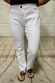 The Georgia Slightly Distressed White Jeans - Sizes 4-20