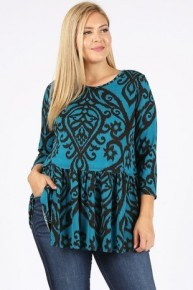 Washed by the Water Teal and Black Tunic Sizes 12-20